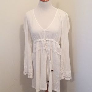 Other - White Swim Cover-Up with crochet trim